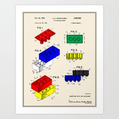 Building Brick Patent - Color (Resize) Art Print