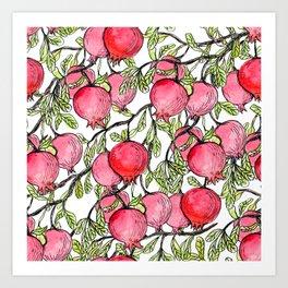 Pomegranate branches watercolor Art Print