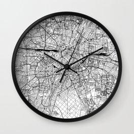 Munich White Map Wall Clock