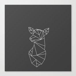 Geometric Doe (White on Grey) Canvas Print