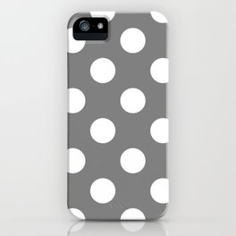 Large Polka Dots - White on Gray iPhone Case