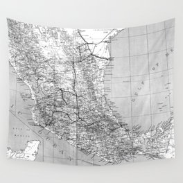Vintage Mexico Railroad Map (1881) BW Wall Tapestry