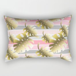 Tropical gold cheese leaves pastel color stripes Rectangular Pillow