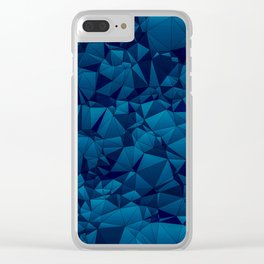 Modern Blues Quilted Pattern Clear iPhone Case