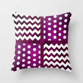 Galaxy Chevron/Polka Dot Space Purple Fuchsia Violet Color Dark Throw Pillow