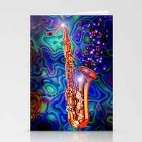 saxophone Stationery Cards featuring Saxophone by JT Digital Art