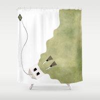 scuba Shower Curtains featuring Scuba Tea by Ruben Alexander