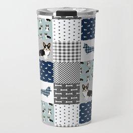 Tricolored Corgi Patchwork - classic buffalo plaid, plaid, dog dad, dog lover, dog design, cute dogs Travel Mug