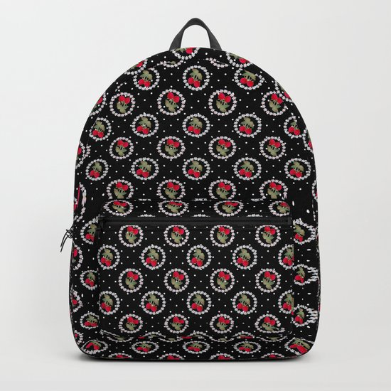 Floral pattern retro . Strawberry. Backpack