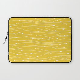 Yellow Line & Dot Pattern Fabric Laptop Sleeve
