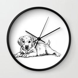 Golden retriever puppy print Wall Clock
