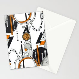 Orange and Black Geometric Design in an Art Deco / 80s Way Stationery Cards