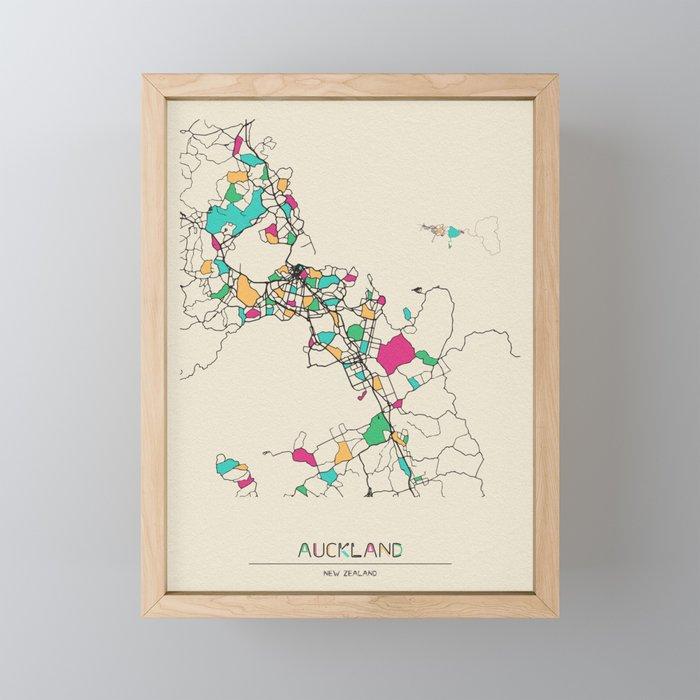 City Map Of New Zealand.Colorful City Maps Auckland New Zealand Framed Mini Art Print By Aysetoyran