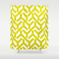 yellow pattern Shower Curtains featuring Yellow Geometry Pattern by VessDSign