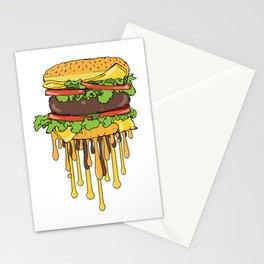 Melting Cheeseburger Fast Food Illustration Stationery Cards