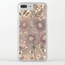 Watercolor . Flowers retro . Clear iPhone Case