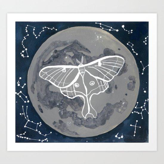 La Luna constellations & moon watercolor Art Print