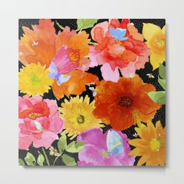 Watercolor Flowers on Black Metal Print
