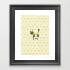 Cute Siamese Cat & Joy Doodle Framed Art Print