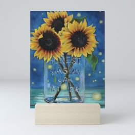 Lightning Bugs and Sunflowers Mini Art Print