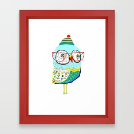 Bobble Hat Owl. Framed Art Print