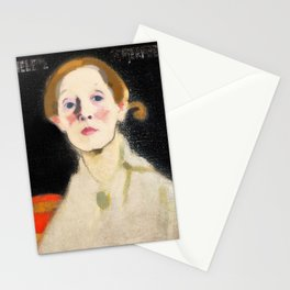 Self Portrait with Black Background - Helene Sofia Schjerfbeck Stationery Cards