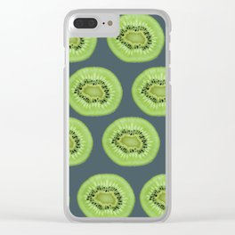Kiwi pattern home decor interior design minimal cement polka dots graphite gray Clear iPhone Case