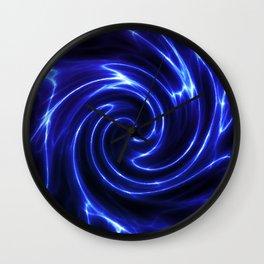 Blue Glowing Swirl Abstract Wall Clock
