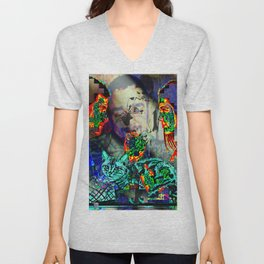 Electro Glitch Cat Just Doesn't Care Unisex V-Neck