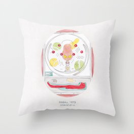 Haruki Murakami's Pinball, 1973 // Illustration of a Pachinko Machine in Watercolour and Pencil Throw Pillow