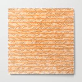 Sherbet Small Herringbone Metal Print