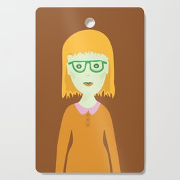 The Girl with the Baby Bangs Cutting Board
