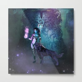 Wonderful fairy with awesome wolf Metal Print