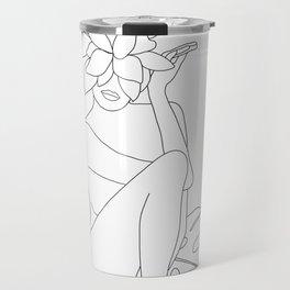 Minimal Line Art Woman with Tropical Leaves Travel Mug