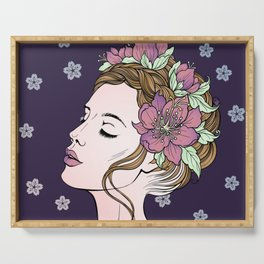 Flower Crown Girl Serving Tray