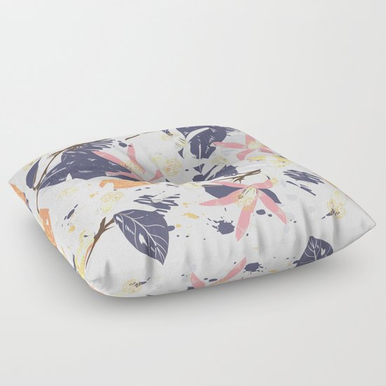 Tropical Lemons Trendy Print Floor Pillow By Fleurdesign