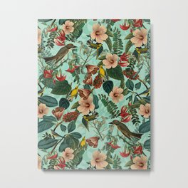 FLORAL AND BIRDS XIII Metal Print