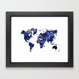 Dark navy blue watercolor world map Framed Art Print