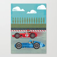 racing Canvas Prints featuring Retro Racing by we are 3 fish