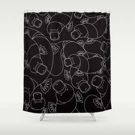 Minimalist Platypus Black and White Shower Curtain