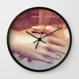 Digital Partnership with Handshake Between Man and Machine Wall Clock
