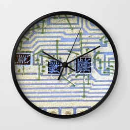 Silicon chip on a circuit Wall Clock