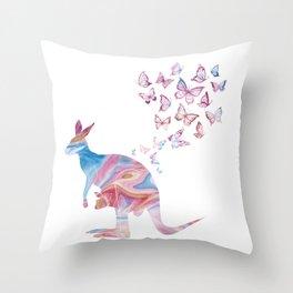 Butteflies And Kangaroo Throw Pillow