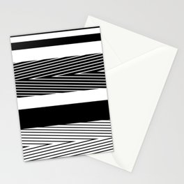Black and white abstract striped pattern Stationery Cards