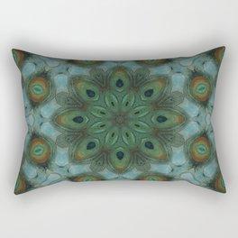 Dreams of Tahiti // Peacock Feather Circle Pattern Mandala Green Blue Beautiful Geometric Bliss Rectangular Pillow