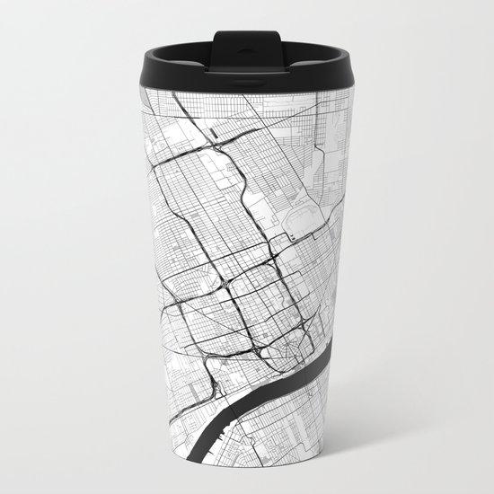 Detroit Map Gray Metal Travel Mug
