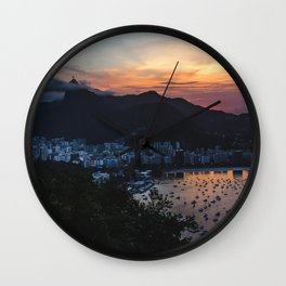Panoramic view of Rio de Janeiro at sunset under the Christ the Redeemer statue, Brazil Wall Clock