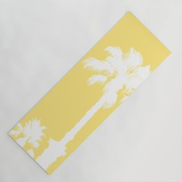 Palm Silhouettes On Yellow Yoga Mat