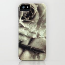 Faded Rose and Old Key Vintage Style Modern Country Cottage Art A130 iPhone Case