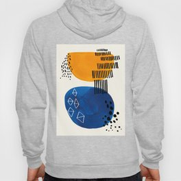 Fun Colorful Abstract Mid Century Minimalist Yellow Navy Blue Whiscial Patterns Organic Shapes Hoody